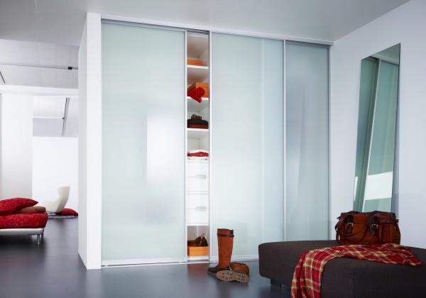 Maß Schiebetür - 3-flüglig - Glas / Spiegel - Classic Schiebetüranlage - mit Aluminiumprofil